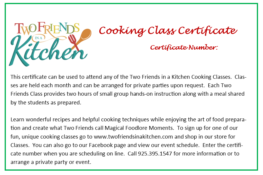 Two Friends Cooking Class Certificate Two Friends In A
